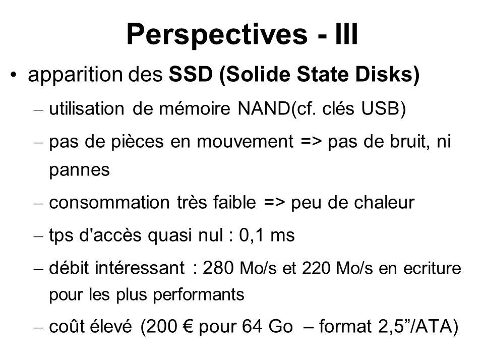 Perspectives - III apparition des SSD (Solide State Disks) – utilisation de mémoire NAND(cf. clés USB) – pas de pièces en mouvement => pas de bruit, n