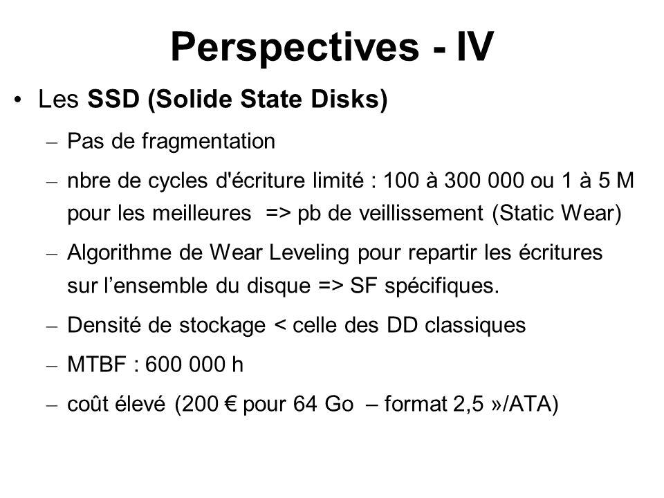 Perspectives - IV Les SSD (Solide State Disks) – Pas de fragmentation – nbre de cycles d'écriture limité : 100 à 300 000 ou 1 à 5 M pour les meilleure