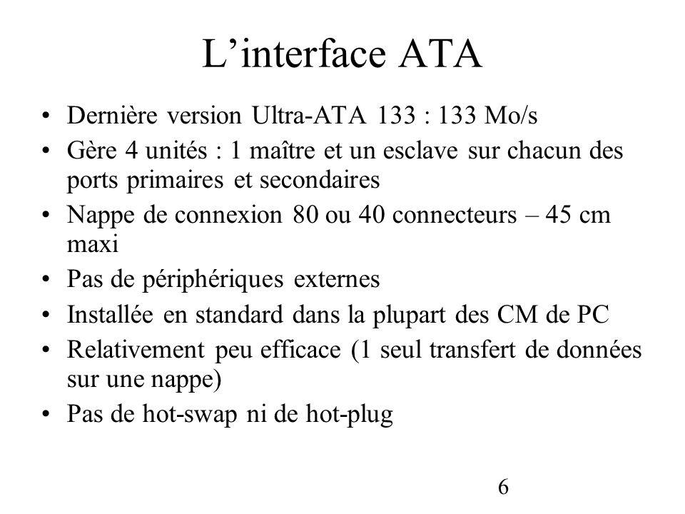 6 Linterface ATA Dernière version Ultra-ATA 133 : 133 Mo/s Gère 4 unités : 1 maître et un esclave sur chacun des ports primaires et secondaires Nappe