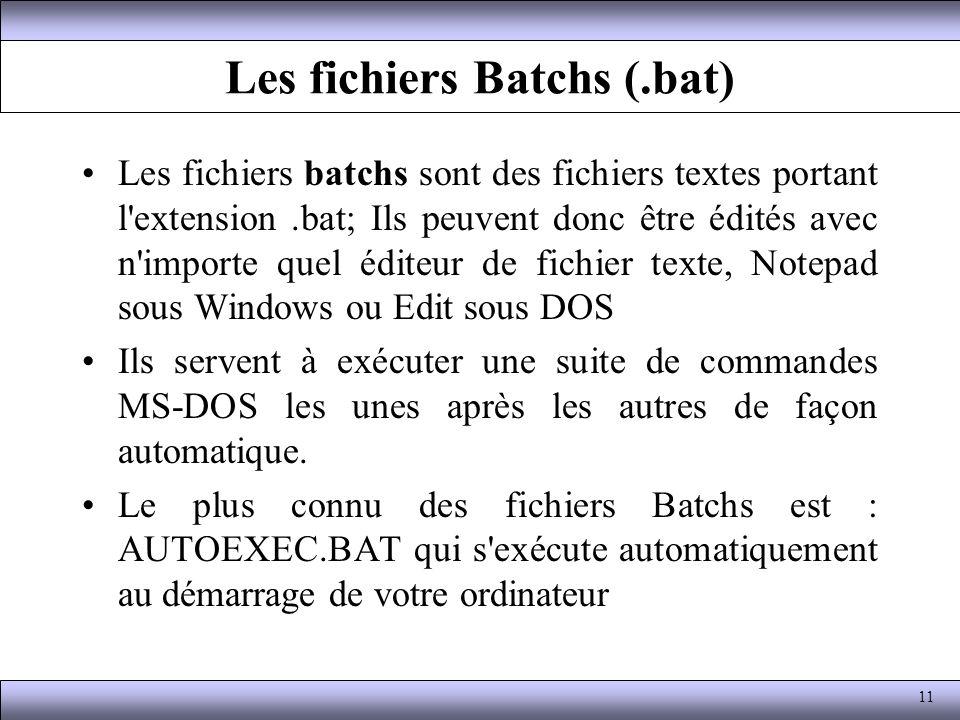 Les fichiers Batchs (.bat) Les fichiers batchs sont des fichiers textes portant l'extension.bat; Ils peuvent donc être édités avec n'importe quel édit