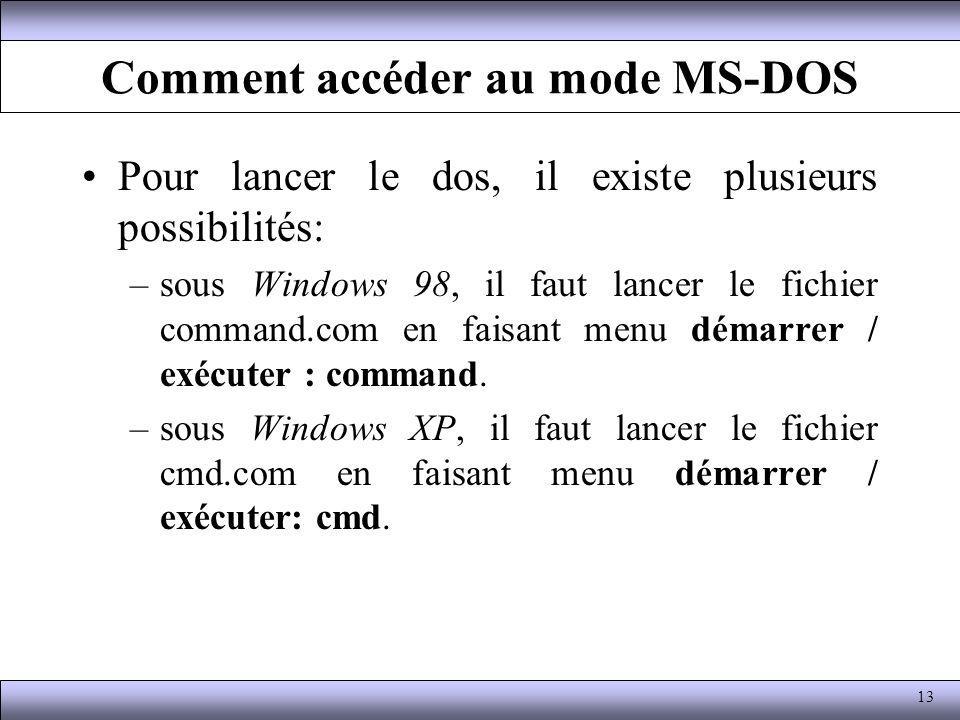 Comment accéder au mode MS-DOS Pour lancer le dos, il existe plusieurs possibilités: –sous Windows 98, il faut lancer le fichier command.com en faisan