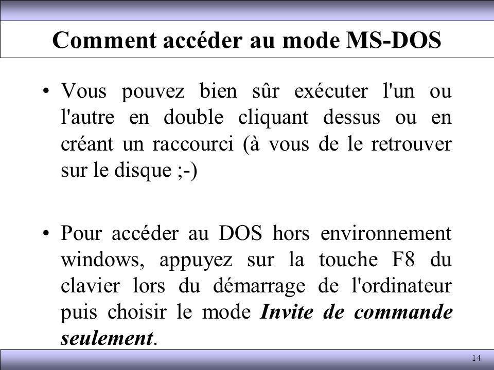 Comment accéder au mode MS-DOS Vous pouvez bien sûr exécuter l'un ou l'autre en double cliquant dessus ou en créant un raccourci (à vous de le retrouv