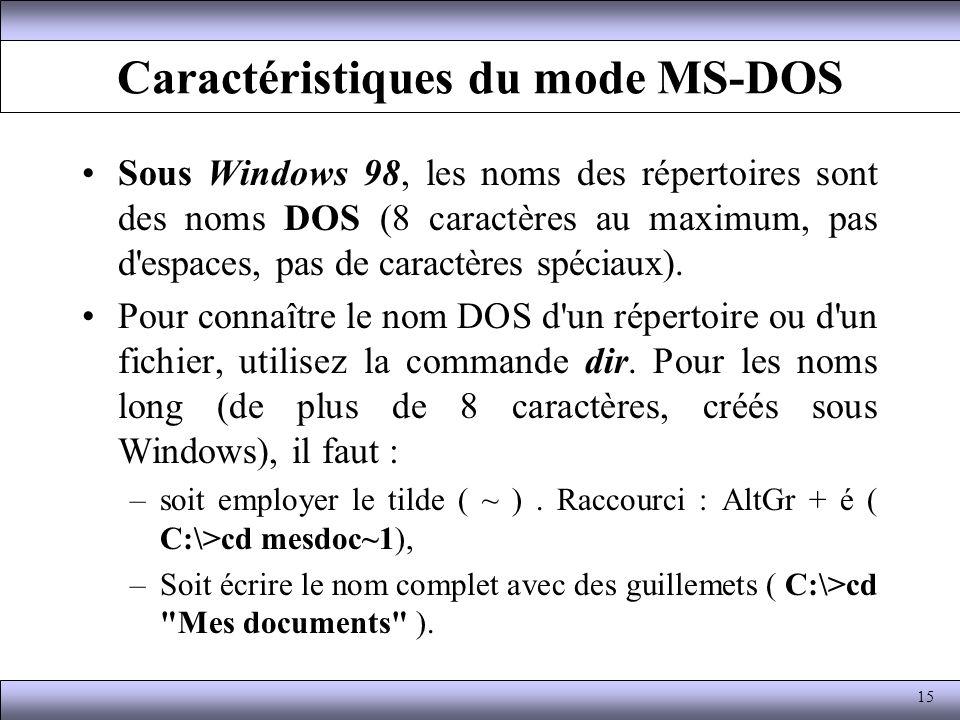 Caractéristiques du mode MS-DOS Sous Windows 98, les noms des répertoires sont des noms DOS (8 caractères au maximum, pas d'espaces, pas de caractères