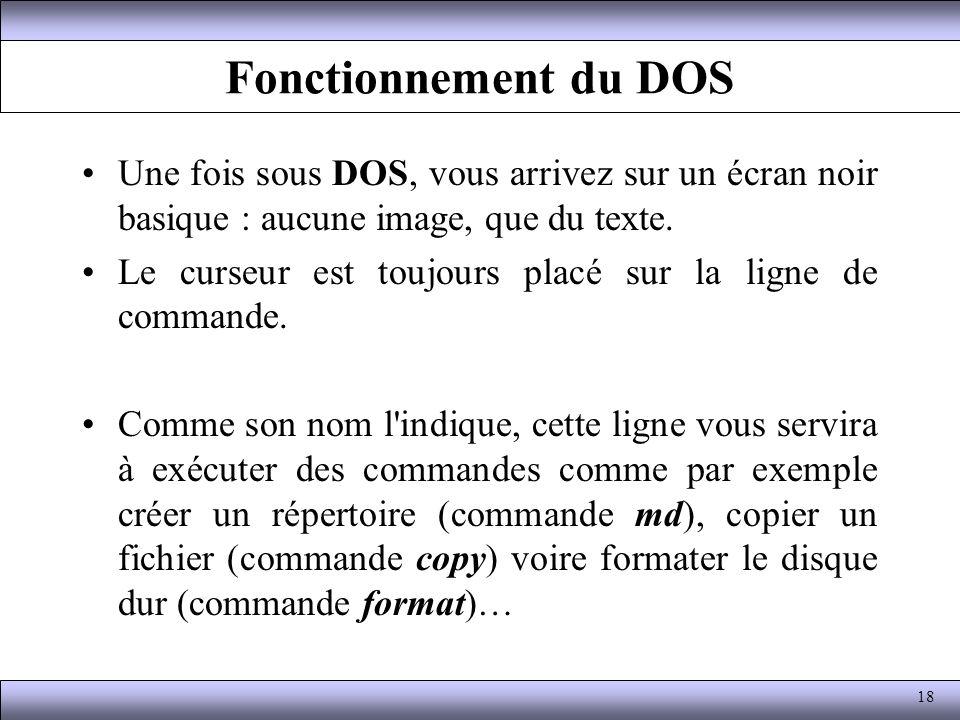 Fonctionnement du DOS Une fois sous DOS, vous arrivez sur un écran noir basique : aucune image, que du texte. Le curseur est toujours placé sur la lig