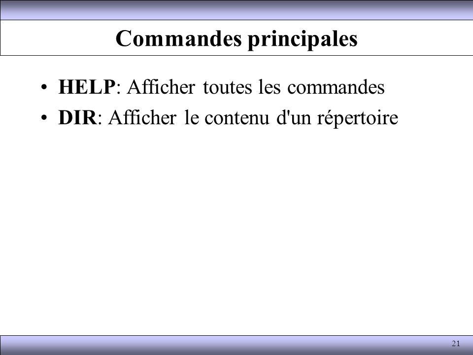 Commandes principales HELP: Afficher toutes les commandes DIR: Afficher le contenu d'un répertoire 21