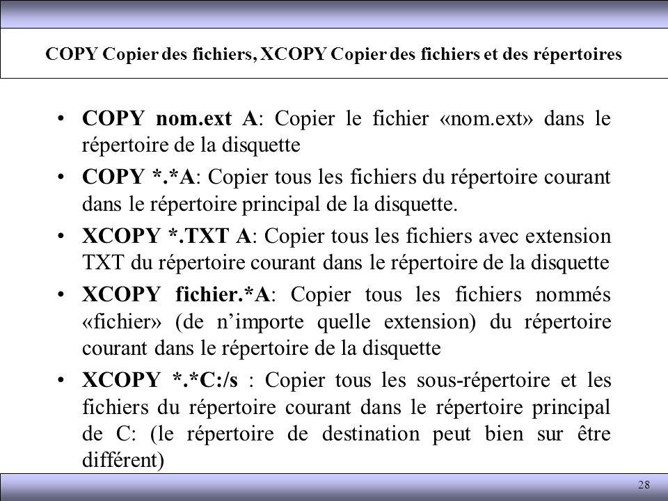 COPY Copier des fichiers, XCOPY Copier des fichiers et des répertoires COPY nom.ext A: Copier le fichier «nom.ext» dans le répertoire de la disquette