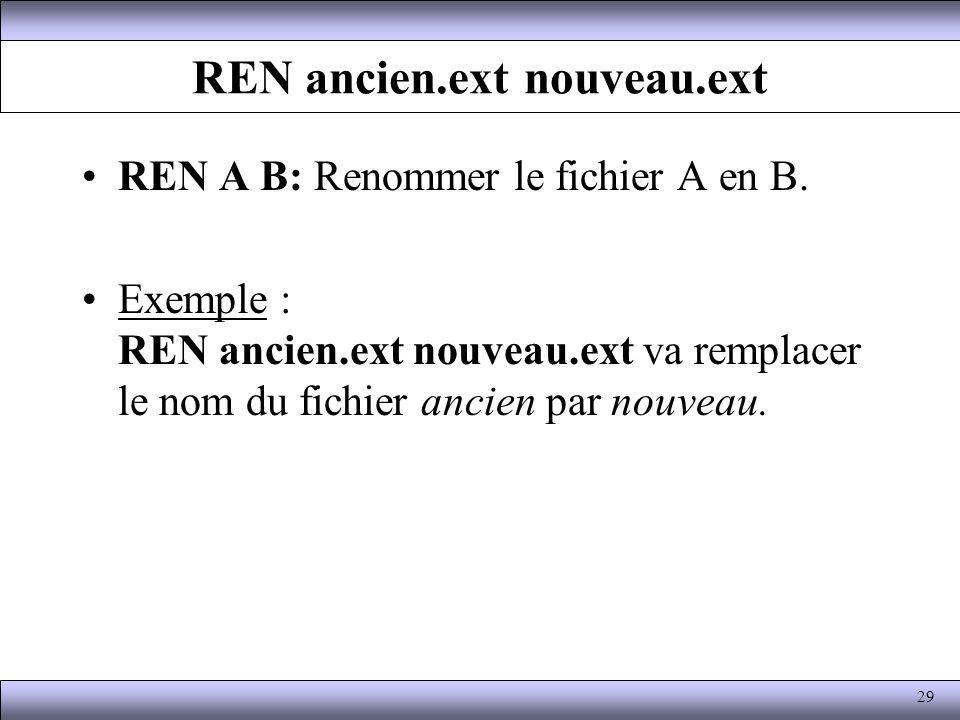 REN ancien.ext nouveau.ext REN A B: Renommer le fichier A en B. Exemple : REN ancien.ext nouveau.ext va remplacer le nom du fichier ancien par nouveau