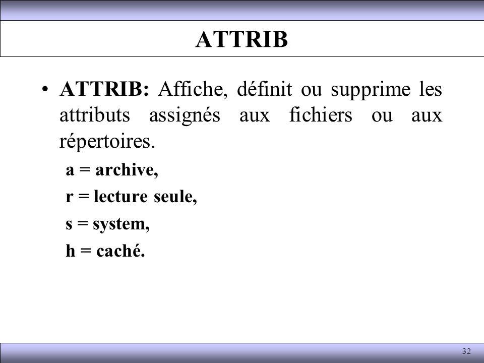 ATTRIB ATTRIB: Affiche, définit ou supprime les attributs assignés aux fichiers ou aux répertoires. a = archive, r = lecture seule, s = system, h = ca