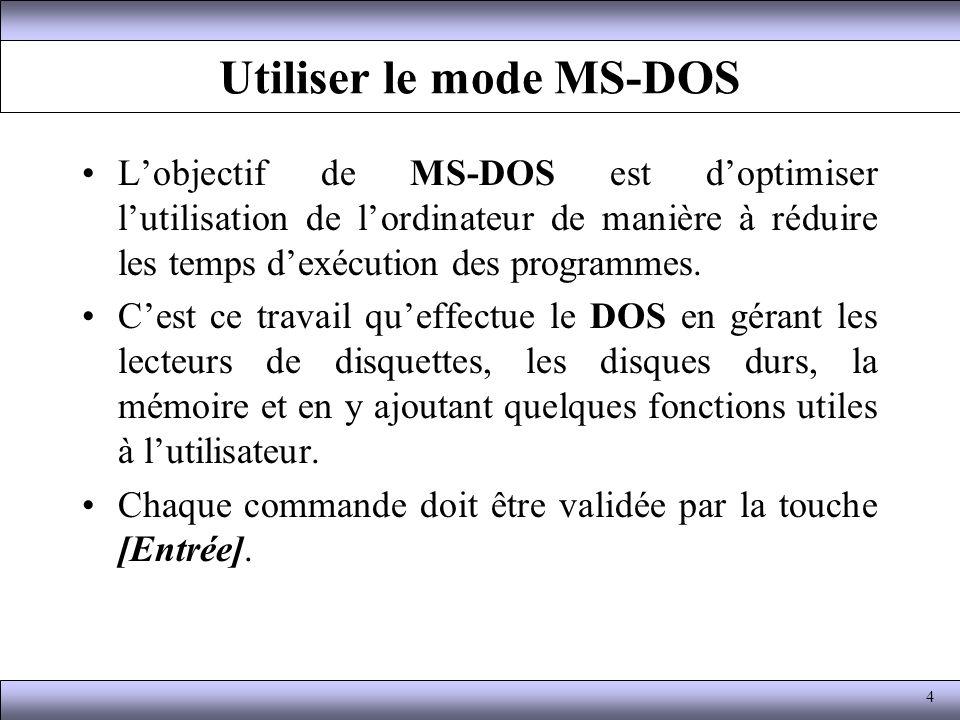 Utiliser le mode MS-DOS Lobjectif de MS-DOS est doptimiser lutilisation de lordinateur de manière à réduire les temps dexécution des programmes. Cest
