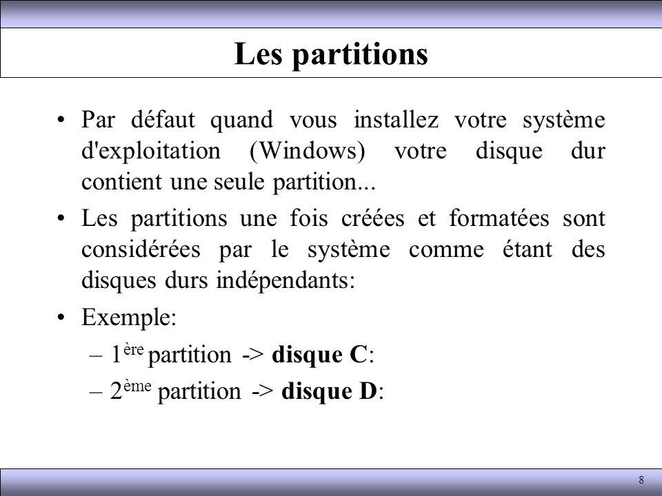 Les partitions Par défaut quand vous installez votre système d'exploitation (Windows) votre disque dur contient une seule partition... Les partitions