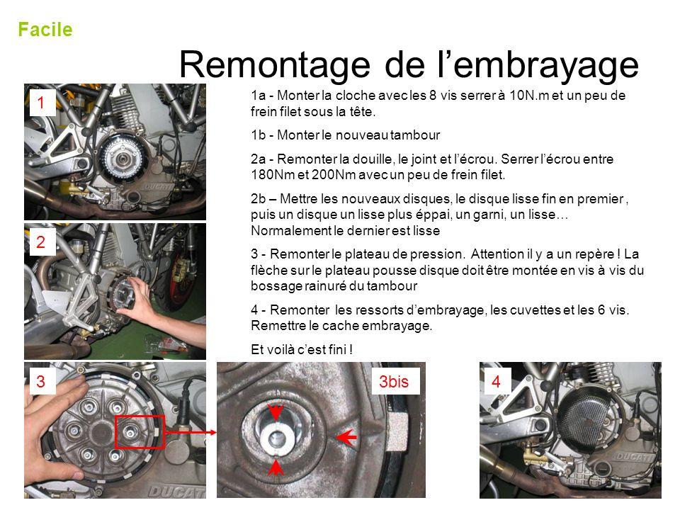 Remontage de lembrayage Facile 1 2 33bis4 1a - Monter la cloche avec les 8 vis serrer à 10N.m et un peu de frein filet sous la tête. 1b - Monter le no