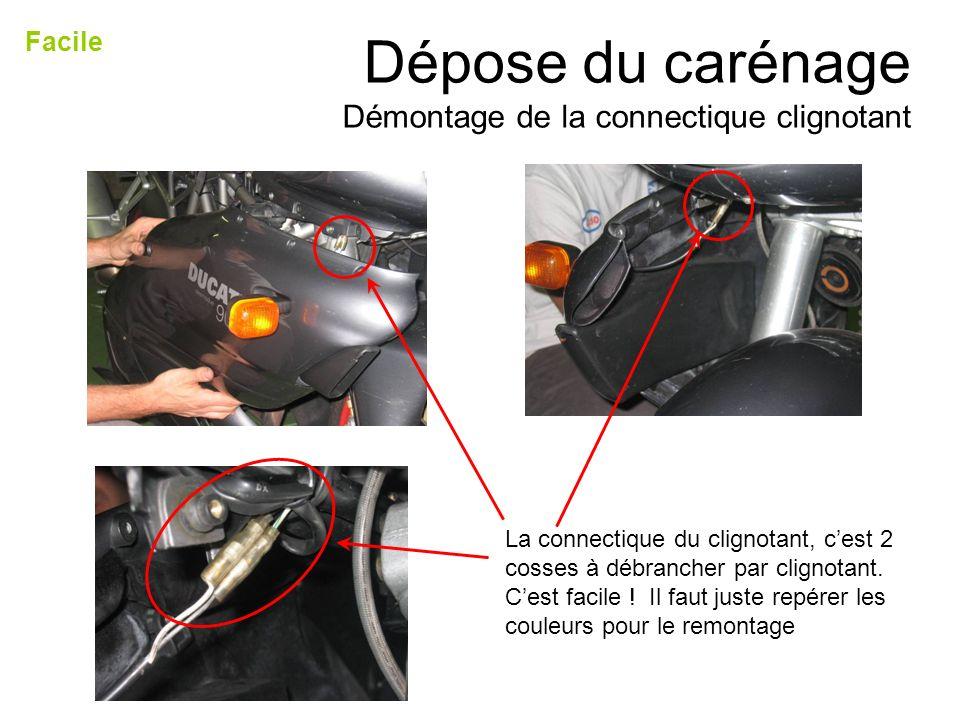 La connectique du clignotant, cest 2 cosses à débrancher par clignotant. Cest facile ! Il faut juste repérer les couleurs pour le remontage Dépose du