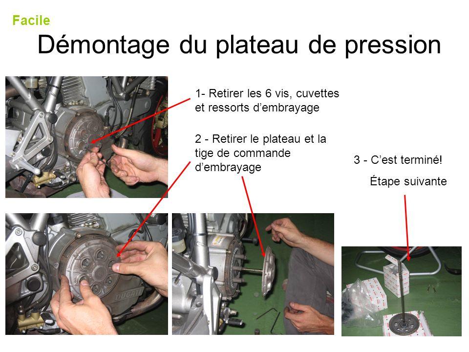 Démontage du plateau de pression Facile 1- Retirer les 6 vis, cuvettes et ressorts dembrayage 2 - Retirer le plateau et la tige de commande dembrayage