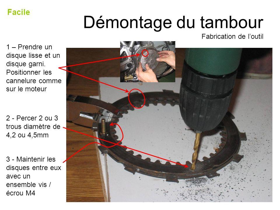 Démontage du tambour Fabrication de loutil Facile 1 – Prendre un disque lisse et un disque garni. Positionner les cannelure comme sur le moteur 2 - Pe