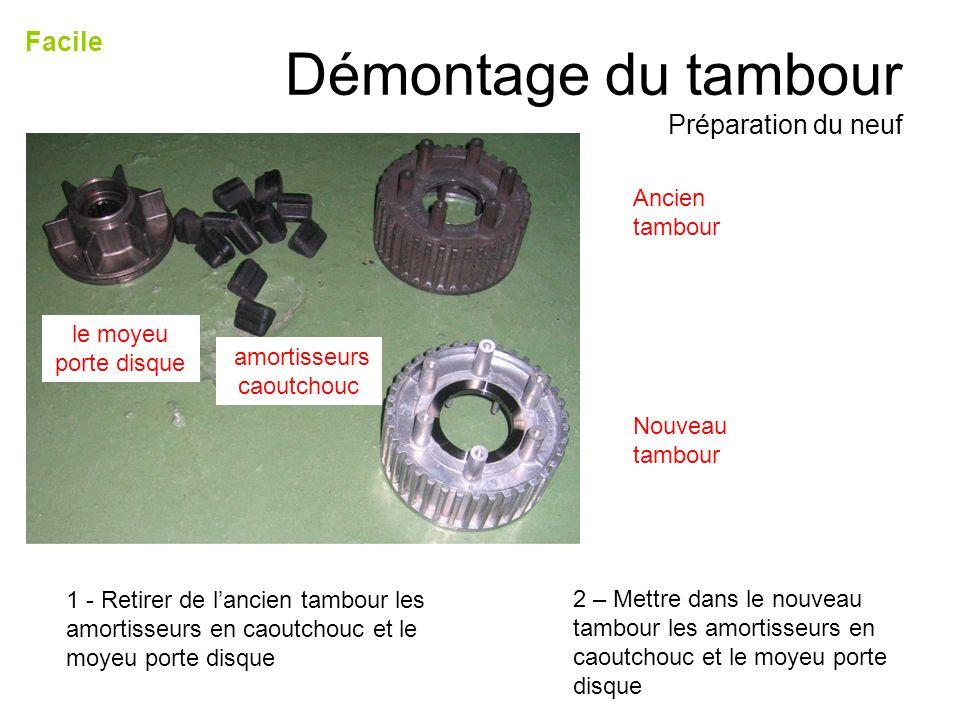 Démontage du tambour Préparation du neuf Facile 1 - Retirer de lancien tambour les amortisseurs en caoutchouc et le moyeu porte disque amortisseurs ca