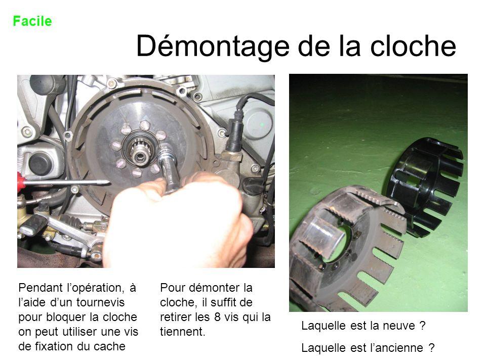 Démontage de la cloche Facile Pour démonter la cloche, il suffit de retirer les 8 vis qui la tiennent. Pendant lopération, à laide dun tournevis pour