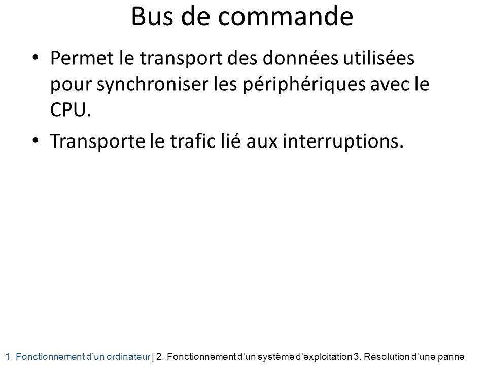 Bus de commande Permet le transport des données utilisées pour synchroniser les périphériques avec le CPU. Transporte le trafic lié aux interruptions.