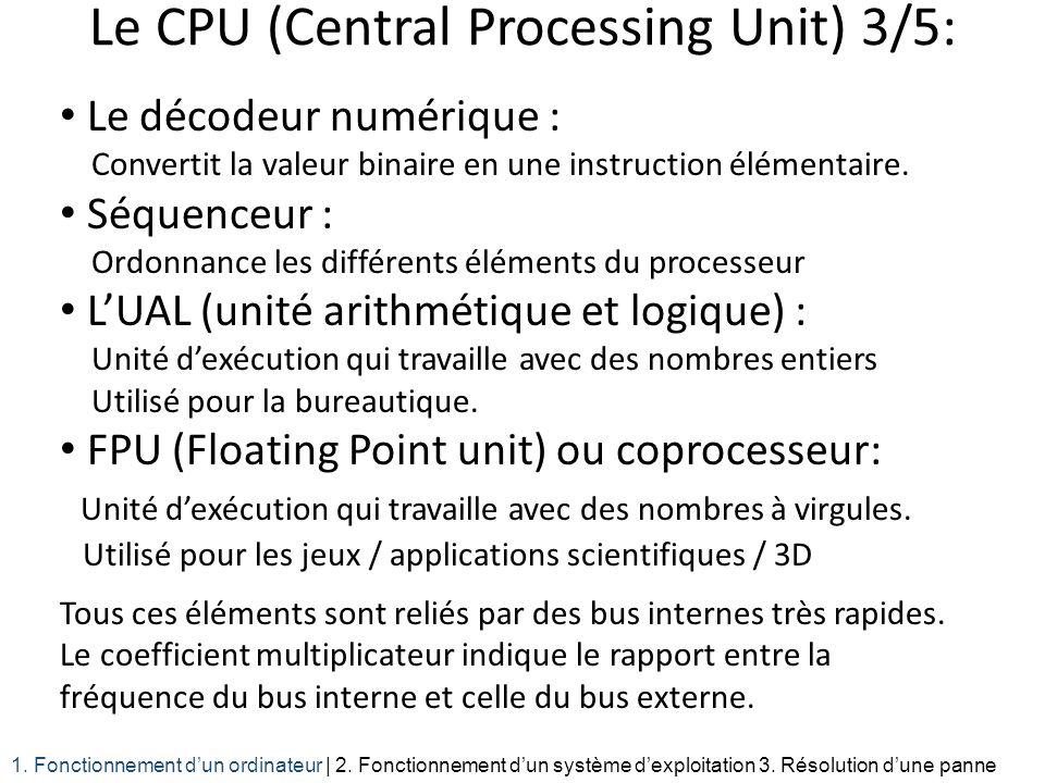 Le décodeur numérique : Convertit la valeur binaire en une instruction élémentaire. Séquenceur : Ordonnance les différents éléments du processeur LUAL