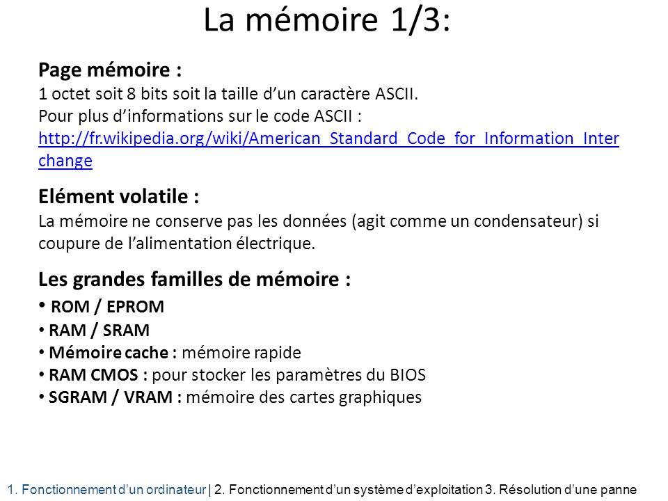 La mémoire 1/3: Page mémoire : 1 octet soit 8 bits soit la taille dun caractère ASCII. Pour plus dinformations sur le code ASCII : http://fr.wikipedia