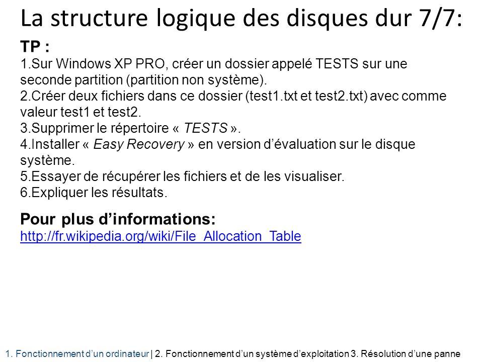 La structure logique des disques dur 7/7: TP : 1.Sur Windows XP PRO, créer un dossier appelé TESTS sur une seconde partition (partition non système).