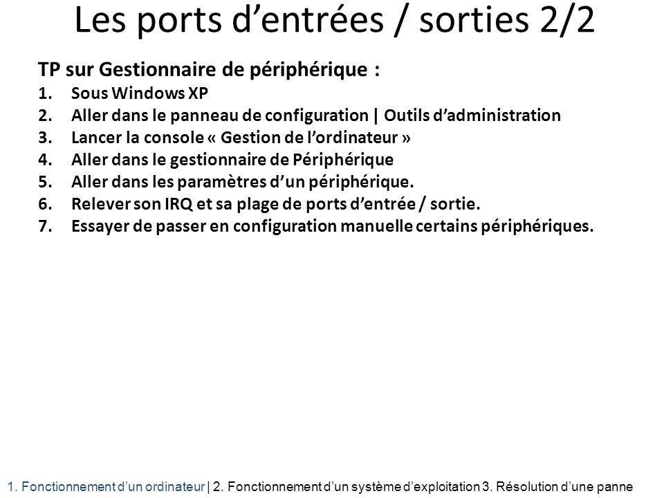 Les ports dentrées / sorties 2/2 TP sur Gestionnaire de périphérique : 1.Sous Windows XP 2.Aller dans le panneau de configuration | Outils dadministra