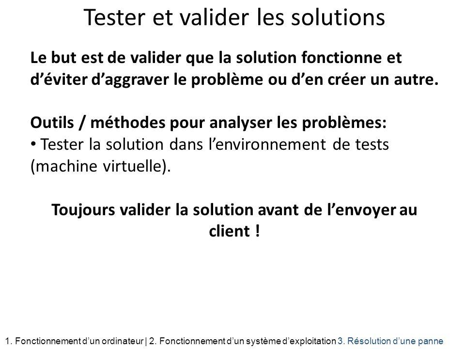 Tester et valider les solutions Le but est de valider que la solution fonctionne et déviter daggraver le problème ou den créer un autre. Outils / méth