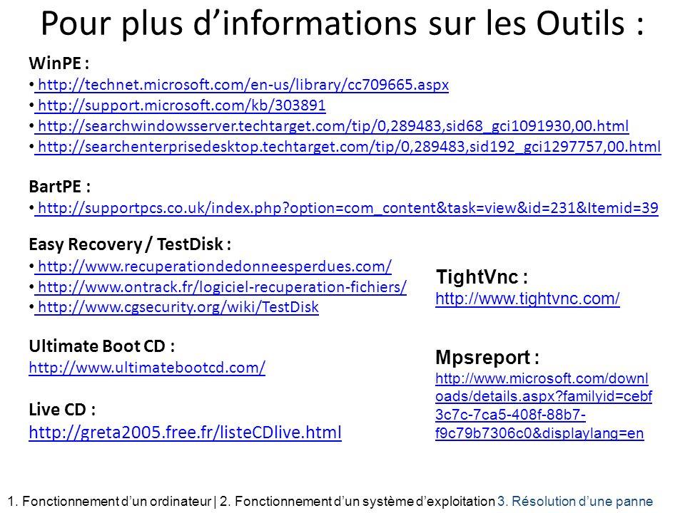 Pour plus dinformations sur les Outils : WinPE : http://technet.microsoft.com/en-us/library/cc709665.aspx http://support.microsoft.com/kb/303891 http: