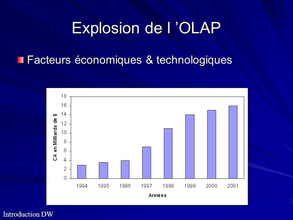 Explosion de l OLAP Facteurs économiques & technologiques Introduction DW