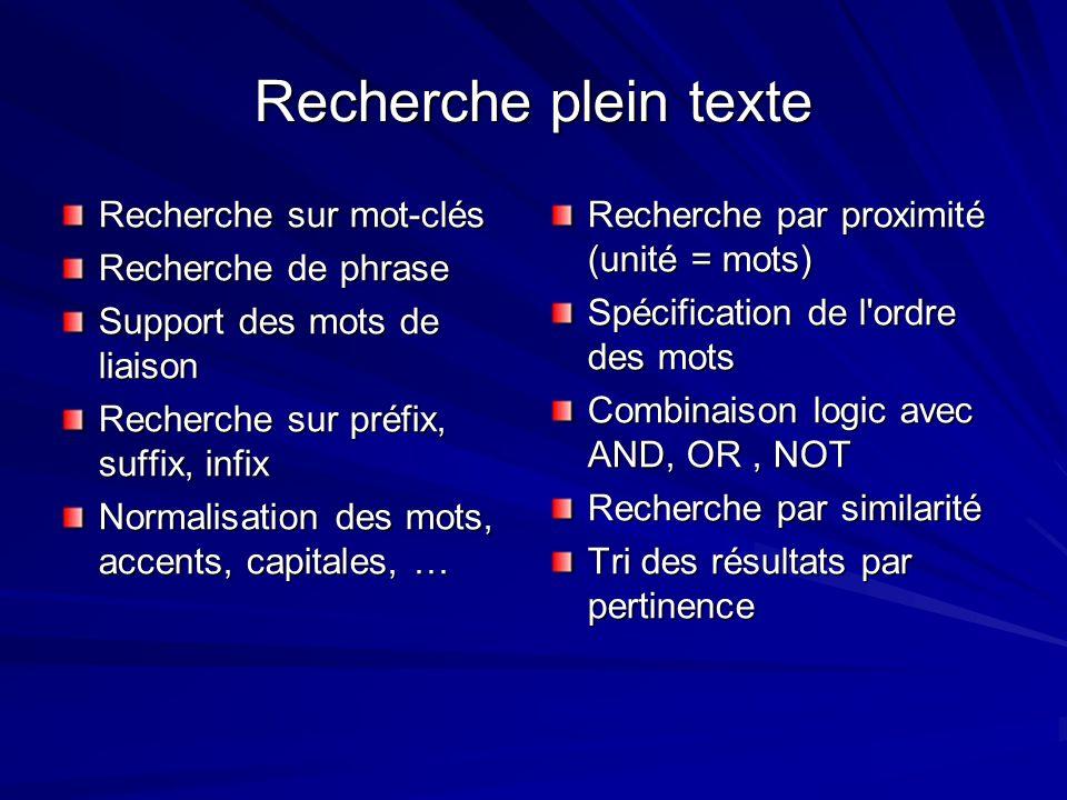 Recherche plein texte Recherche sur mot-clés Recherche de phrase Support des mots de liaison Recherche sur préfix, suffix, infix Normalisation des mot