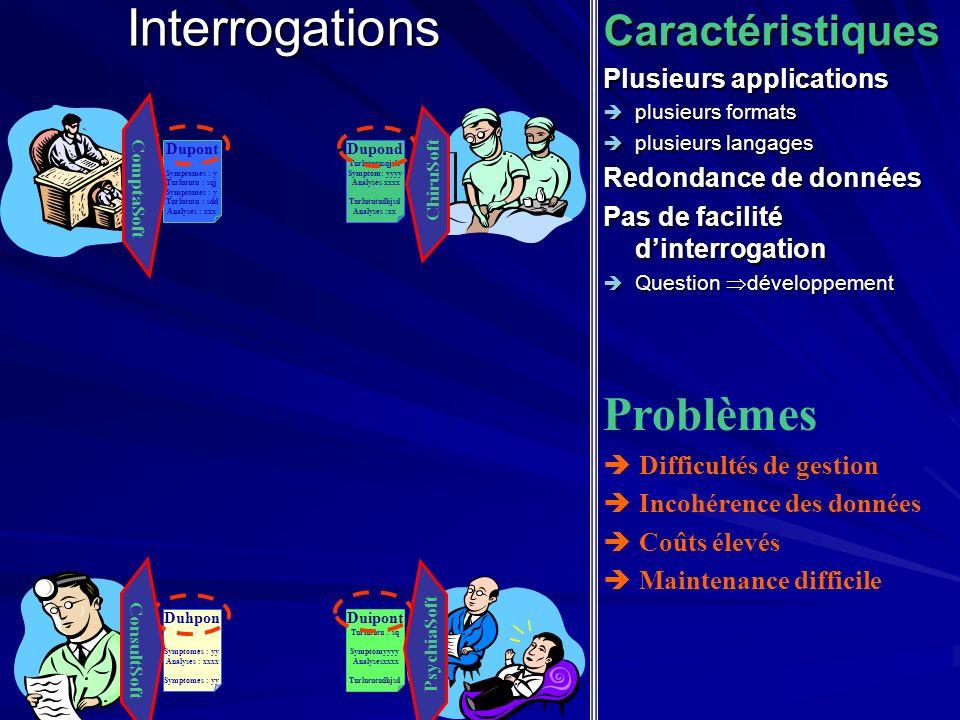 InterrogationsCaractéristiques Plusieurs applications plusieurs formats plusieurs formats plusieurs langages plusieurs langages Redondance de données
