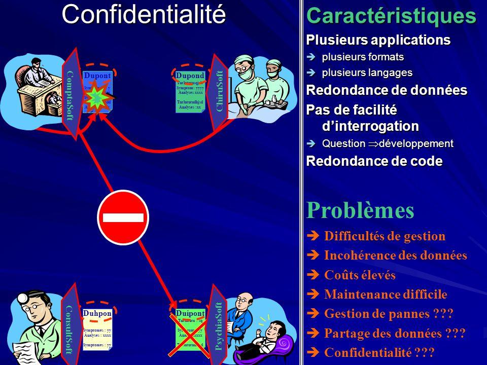 ConfidentialitéCaractéristiques Plusieurs applications plusieurs formats plusieurs formats plusieurs langages plusieurs langages Redondance de données