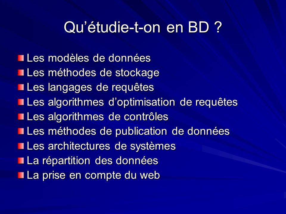 Quétudie-t-on en BD ? Les modèles de données Les méthodes de stockage Les langages de requêtes Les algorithmes doptimisation de requêtes Les algorithm