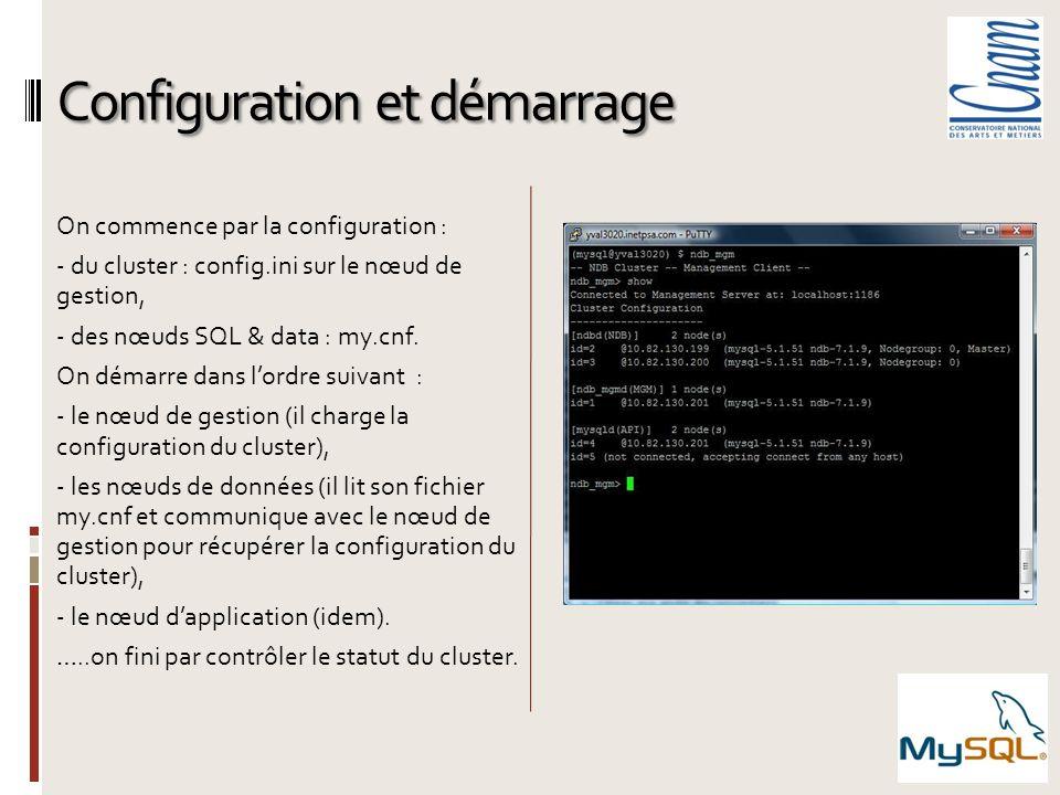 Configuration et démarrage On commence par la configuration : - du cluster : config.ini sur le nœud de gestion, - des nœuds SQL & data : my.cnf. On dé