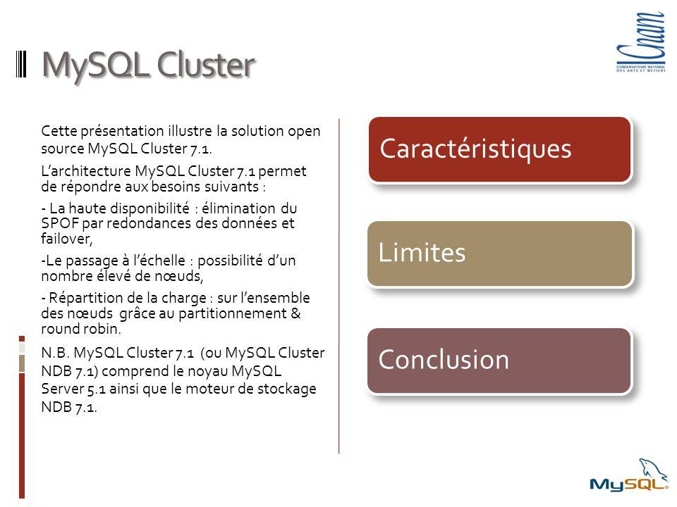 MySQL Cluster Cette présentation illustre la solution open source MySQL Cluster 7.1. Larchitecture MySQL Cluster 7.1 permet de répondre aux besoins su