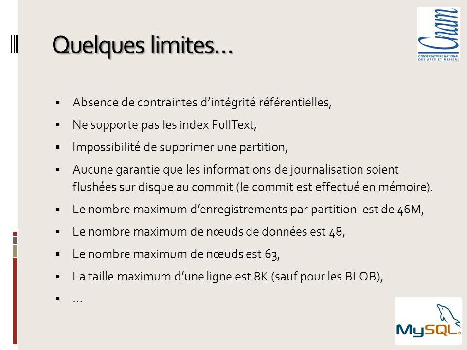 Quelques limites… Absence de contraintes dintégrité référentielles, Ne supporte pas les index FullText, Impossibilité de supprimer une partition, Aucu