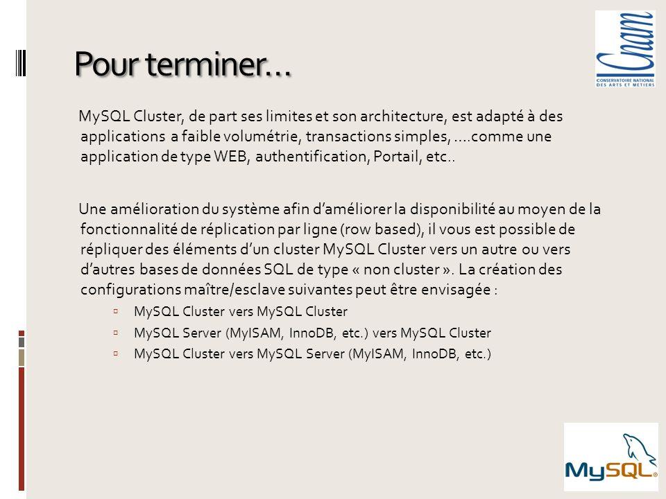 Pour terminer… MySQL Cluster, de part ses limites et son architecture, est adapté à des applications a faible volumétrie, transactions simples, ….comm