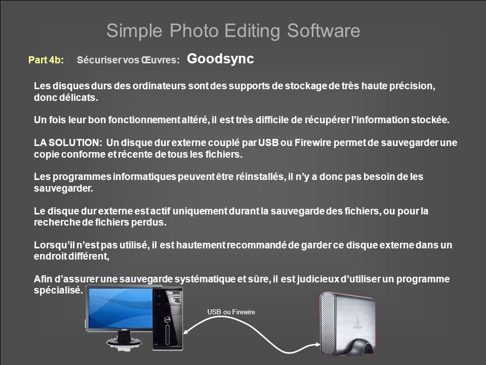 Simple Photo Editing Software La version simplifiée de Goodsync est gratuite.