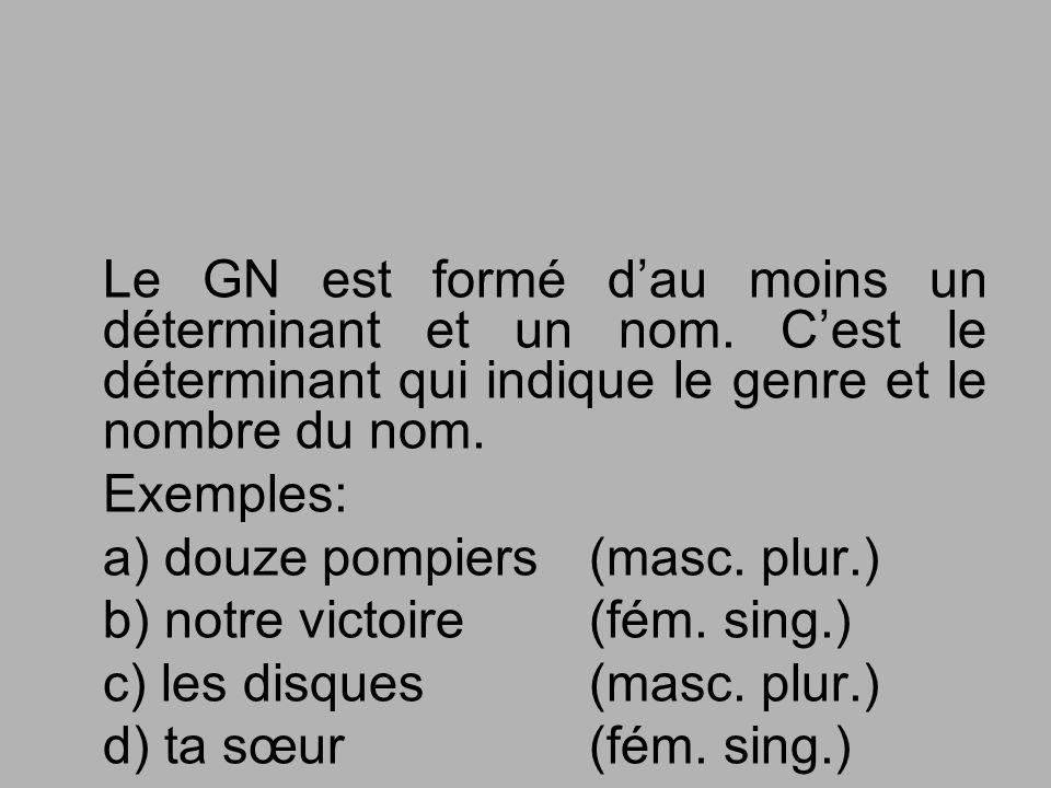 Le GN est formé dau moins un déterminant et un nom. Cest le déterminant qui indique le genre et le nombre du nom. Exemples: a) douze pompiers (masc. p