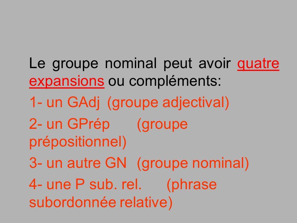Le groupe nominal peut avoir quatre expansions ou compléments: 1- un GAdj (groupe adjectival) 2- un GPrép (groupe prépositionnel) 3- un autre GN (grou