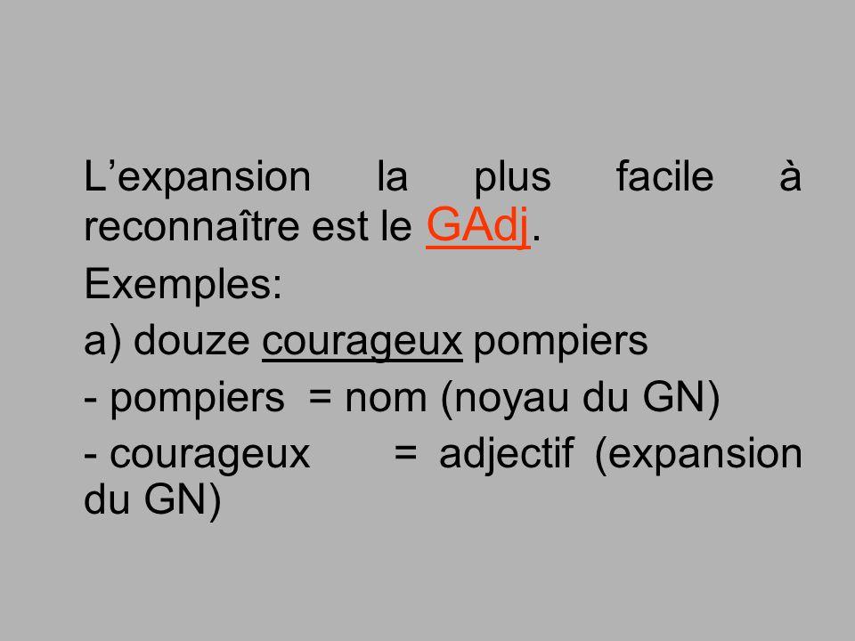 Lexpansion la plus facile à reconnaître est le GAdj. Exemples: a) douze courageux pompiers - pompiers = nom (noyau du GN) - courageux = adjectif (expa