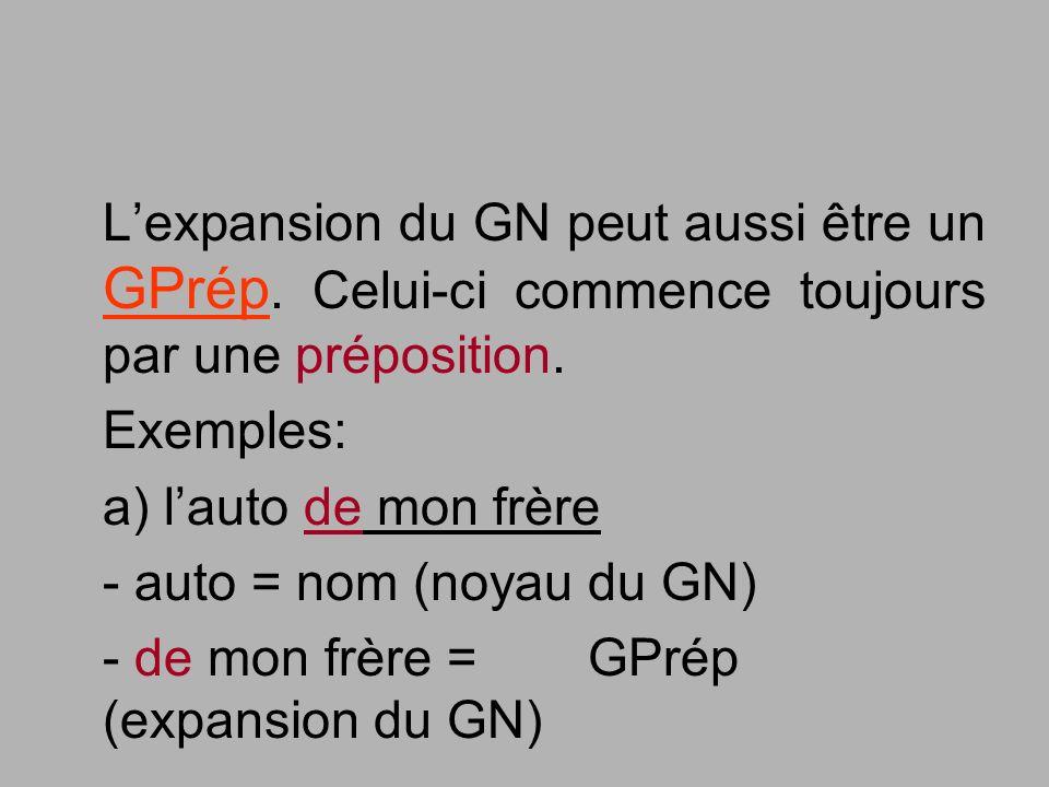 Lexpansion du GN peut aussi être un GPrép. Celui-ci commence toujours par une préposition. Exemples: a) lauto de mon frère - auto = nom (noyau du GN)