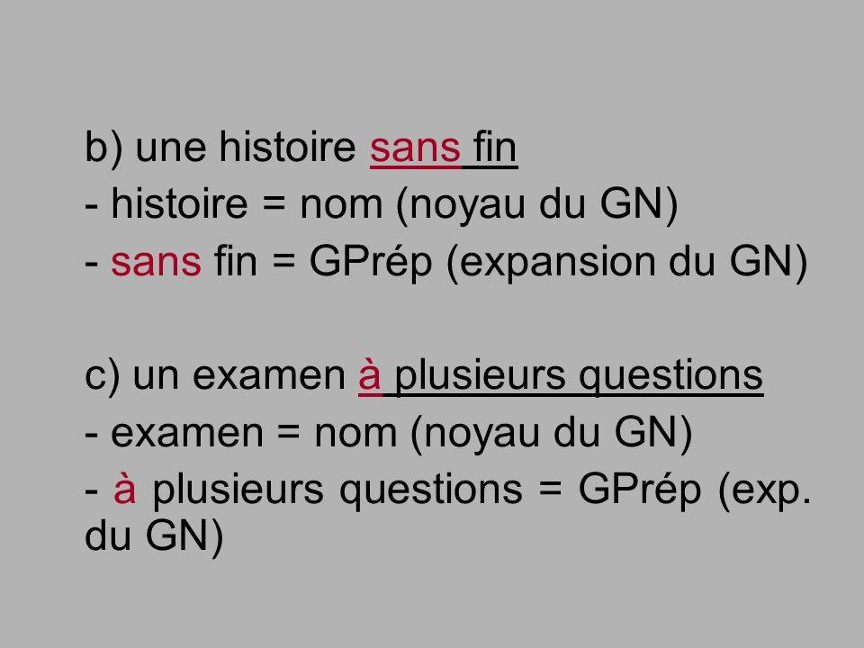 b) une histoire sans fin - histoire = nom (noyau du GN) - sans fin = GPrép (expansion du GN) c) un examen à plusieurs questions - examen = nom (noyau
