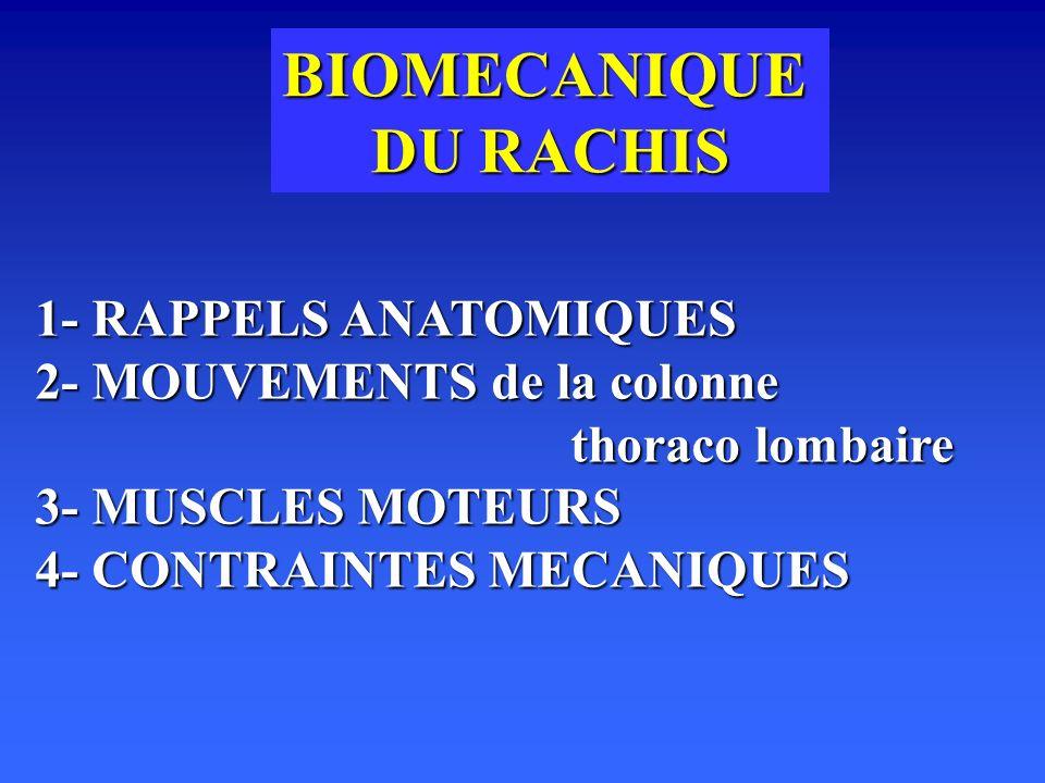 BIOMECANIQUE DU RACHIS 1- RAPPELS ANATOMIQUES 2- MOUVEMENTS de la colonne thoraco lombaire 3- MUSCLES MOTEURS 4- CONTRAINTES MECANIQUES