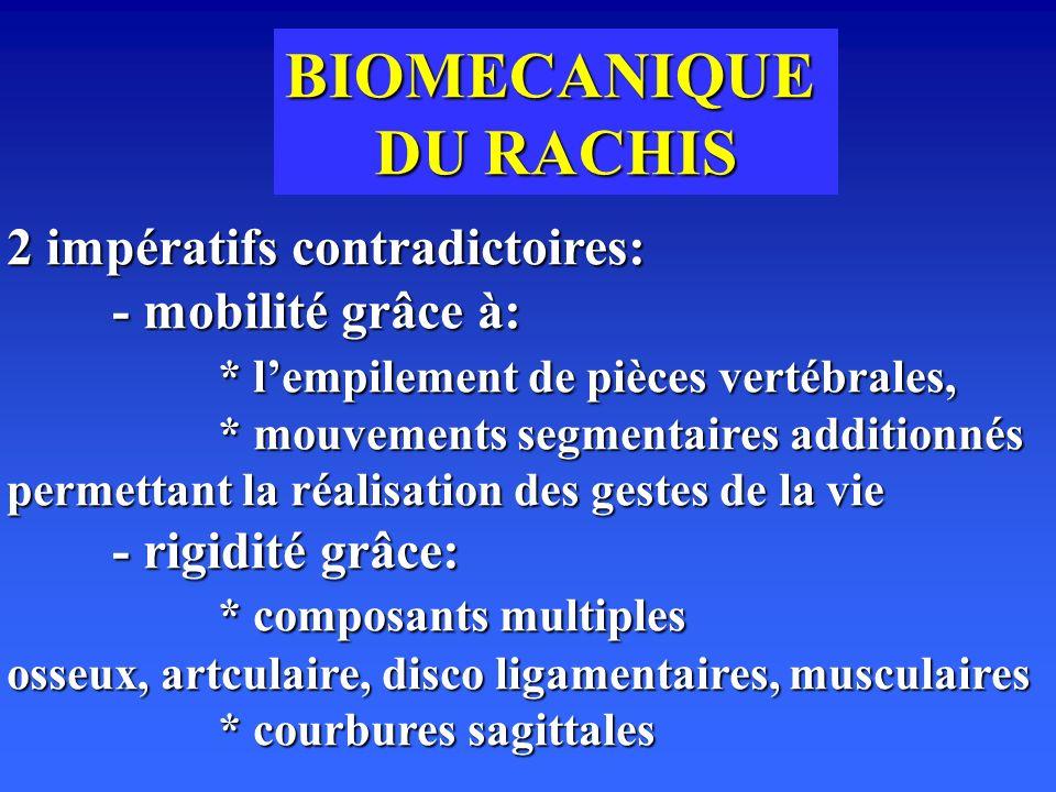 BIOMECANIQUE DU RACHIS 2 impératifs contradictoires: - mobilité grâce à: * lempilement de pièces vertébrales, * mouvements segmentaires additionnés permettant la réalisation des gestes de la vie - rigidité grâce: * composants multiples osseux, artculaire, disco ligamentaires, musculaires * courbures sagittales