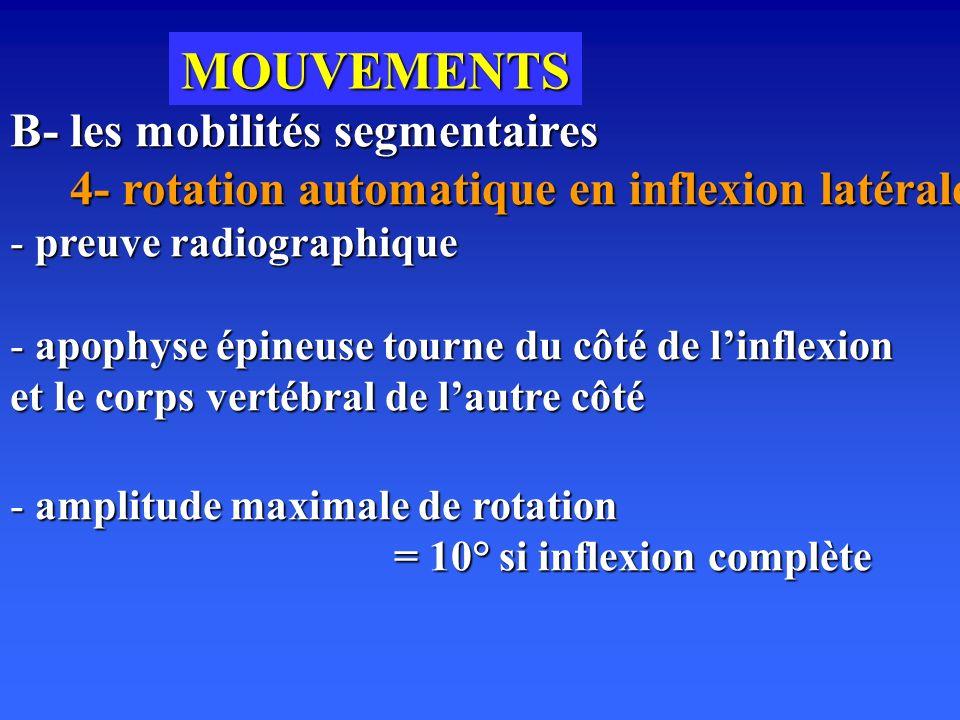 MOUVEMENTS B- les mobilités segmentaires 4- rotation automatique en inflexion latérale 4- rotation automatique en inflexion latérale - preuve radiographique - apophyse épineuse tourne du côté de linflexion et le corps vertébral de lautre côté - amplitude maximale de rotation = 10° si inflexion complète
