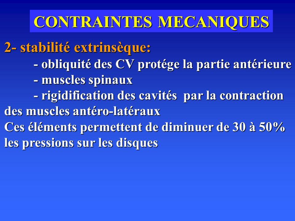 CONTRAINTES MECANIQUES 2- stabilité extrinsèque: - obliquité des CV protége la partie antérieure - muscles spinaux - rigidification des cavités par la contraction des muscles antéro-latéraux Ces éléments permettent de diminuer de 30 à 50% les pressions sur les disques