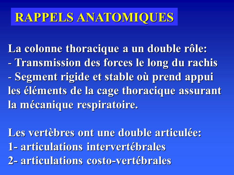 RAPPELS ANATOMIQUES La colonne thoracique a un double rôle: - Transmission des forces le long du rachis - Segment rigide et stable où prend appui les éléments de la cage thoracique assurant la mécanique respiratoire.