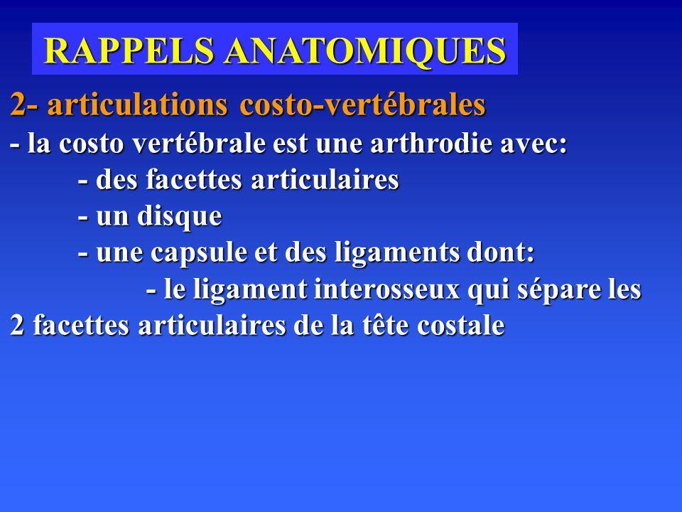 RAPPELS ANATOMIQUES 2- articulations costo-vertébrales - la costo vertébrale est une arthrodie avec: - des facettes articulaires - un disque - un disque - une capsule et des ligaments dont: - le ligament interosseux qui sépare les 2 facettes articulaires de la tête costale