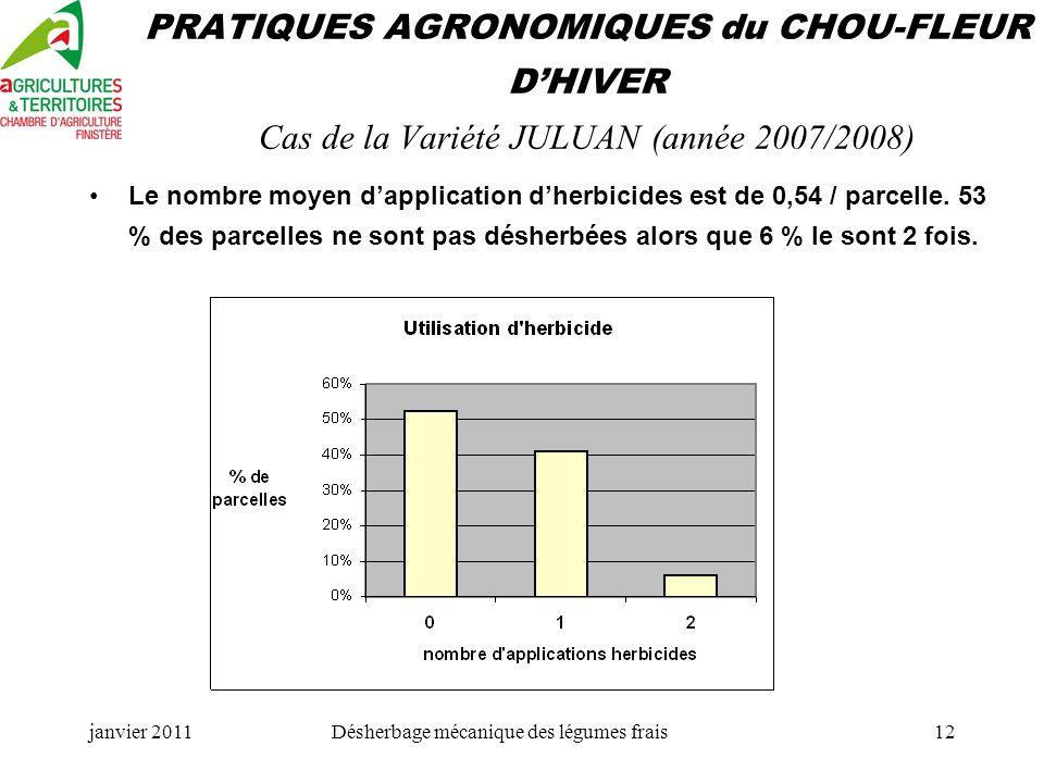 janvier 2011Désherbage mécanique des légumes frais12 PRATIQUES AGRONOMIQUES du CHOU-FLEUR DHIVER Cas de la Variété JULUAN (année 2007/2008) Le nombre moyen dapplication dherbicides est de 0,54 / parcelle.