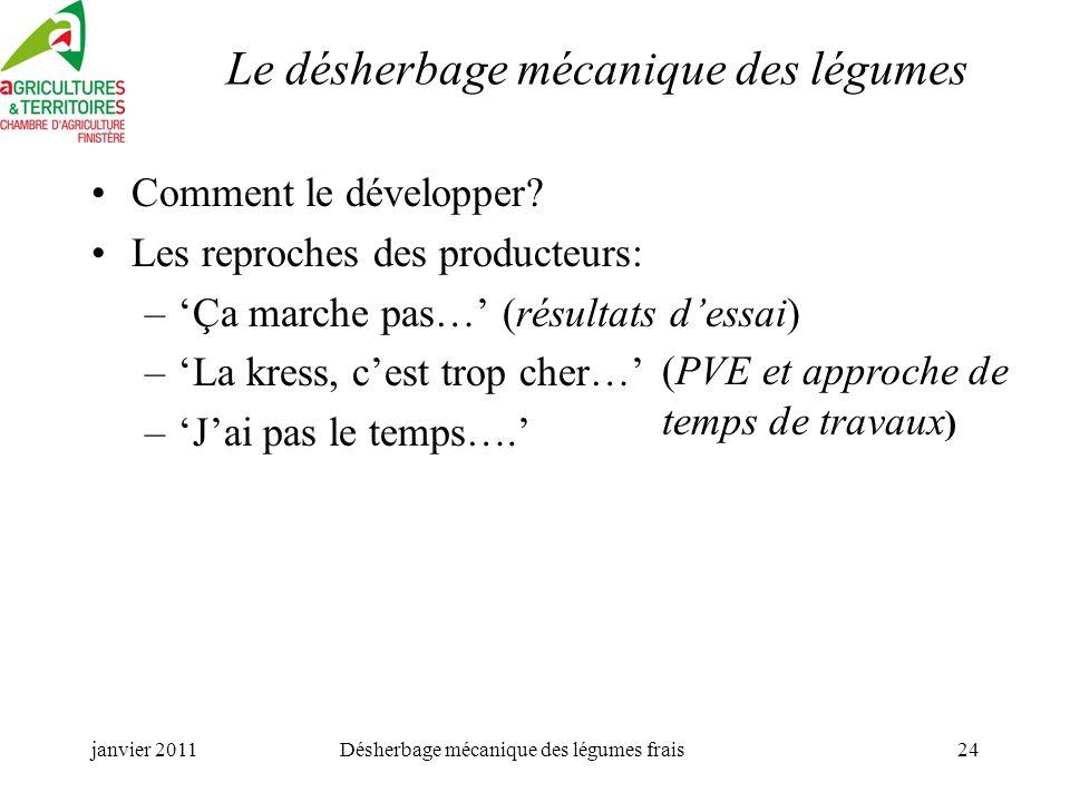janvier 2011Désherbage mécanique des légumes frais24 Le désherbage mécanique des légumes Comment le développer.